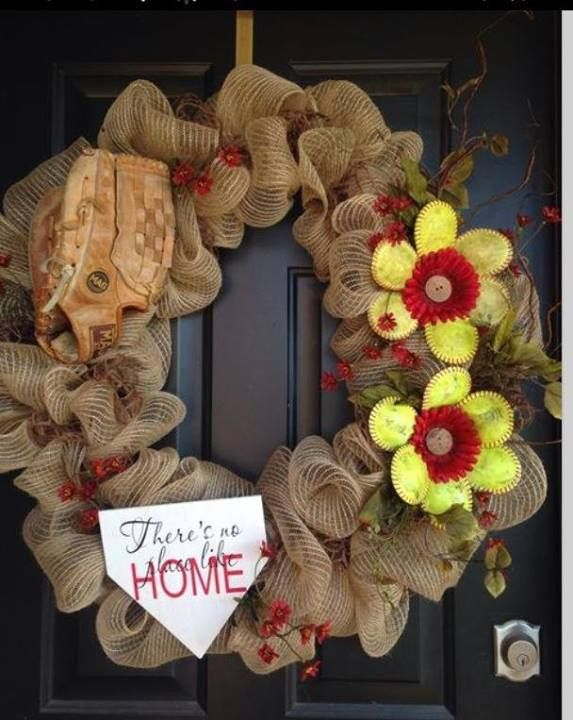 Softball Wreath....Thanks Softball is for Girls, go like them on Facebook!!