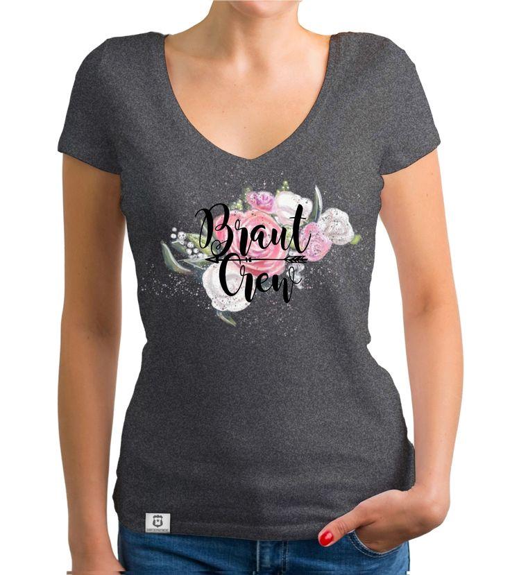 Damen T-Shirt V-Ausschnitt – Braut Crew auf Blumen dunkelgrau-schwarz M