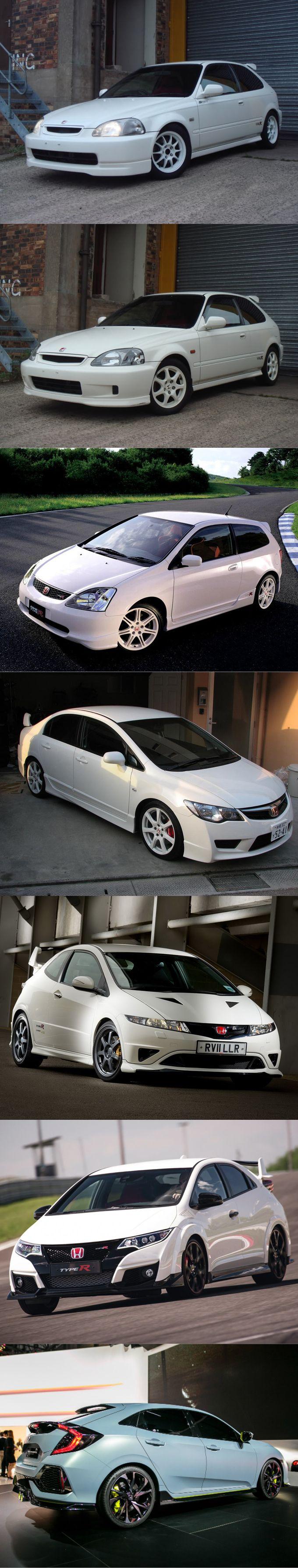 Honda civic type r evolution 1997 1999 facelift 2001 2006 2001 2015 2016 fc prototype japan white