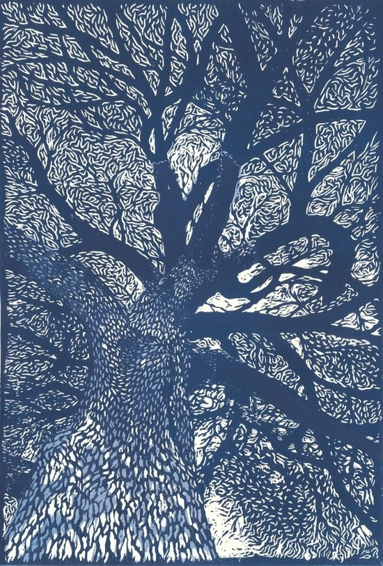 linocut tree I love the depth in this