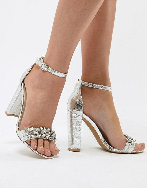 afee0e6874904f True Decadence Silver Embellished Block Heeled Sandals in 2019 ...