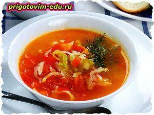 Суп из капусты и красного перца