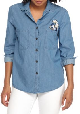 True Craft Girls' Shirt Jacket With Patches - Chambray - Xl