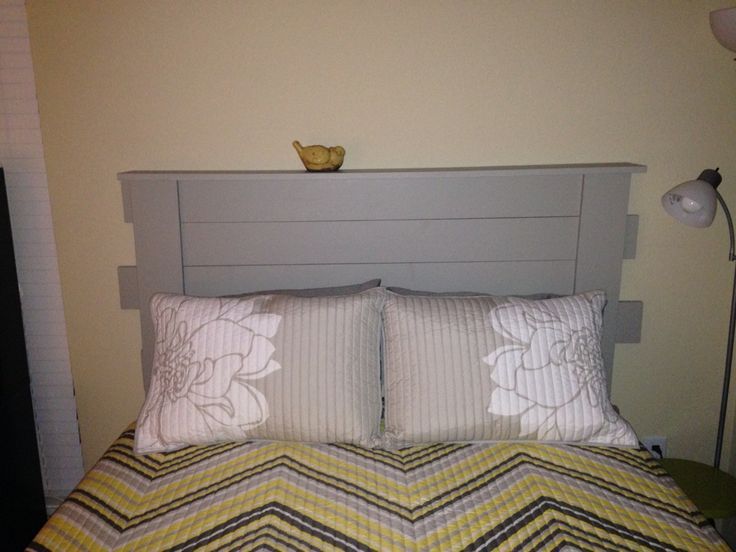 grays and yellows pine headboard made it muh self