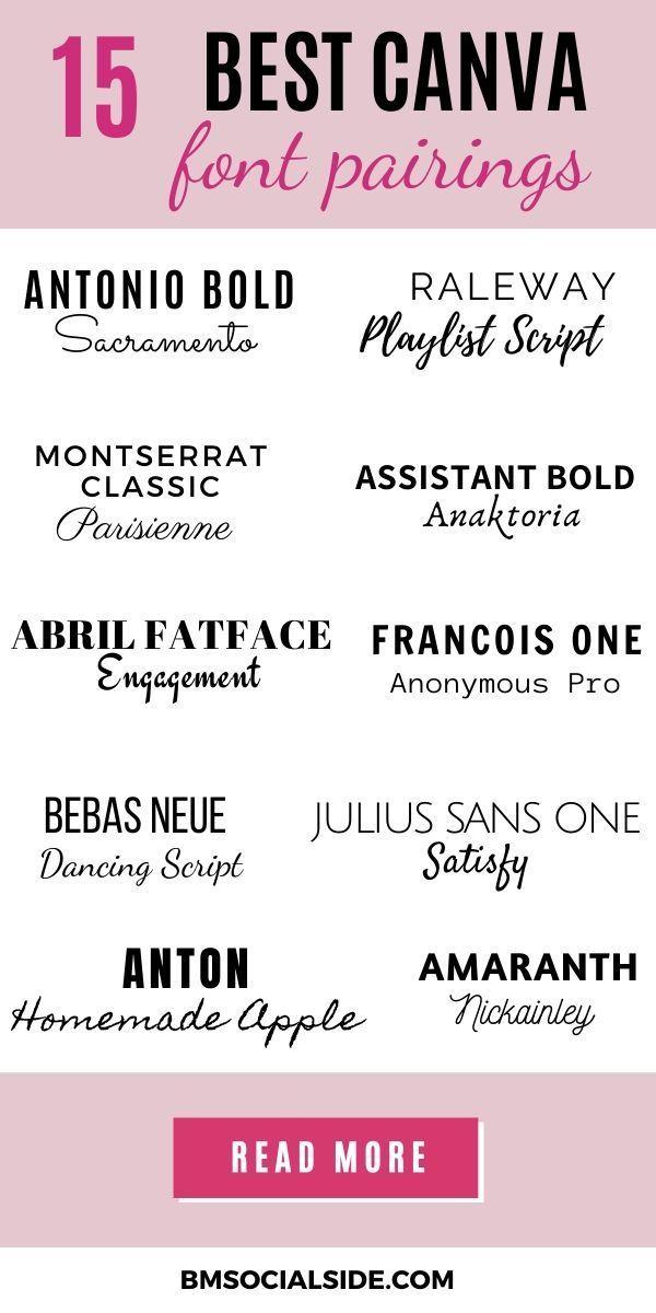 15 Best Canva Font Pairings For Pinterest Bmsocialside In 2020 Font Pairing Pinterest Graphics Canva Tutorial