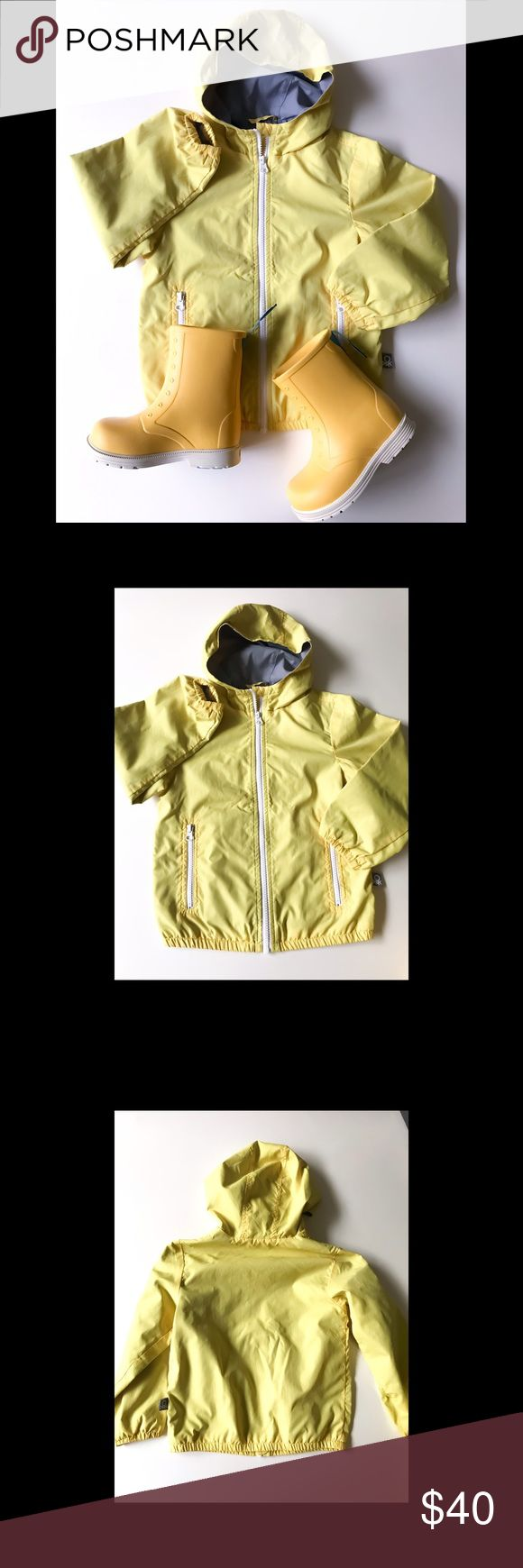 Unisex Set of Rain Coat & Rain Boots BUNDLE price for super cute yellow lightweight Benetton raincoat (4/5T) and Native yellow rain boots (C12) Unisex Both are in perfect condition, the boots are like new-as my son could wear them only once 😢 He just does not like tall boots.. Native boots retail for 50$ Native Shoes Jackets & Coats Raincoats
