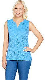 Denim & Co. As Is Sleeveless Split V-Neck Knit Lace Tank Top