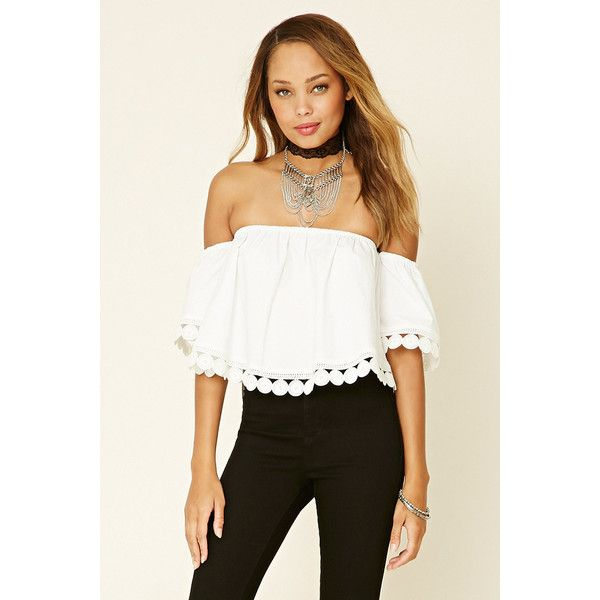 Forever 21 Women's  Crochet Off-the-Shoulder Top (49 BGN) ❤ liked on Polyvore featuring tops, off shoulder crochet top, macrame top, white top, off shoulder tops and off the shoulder crochet top