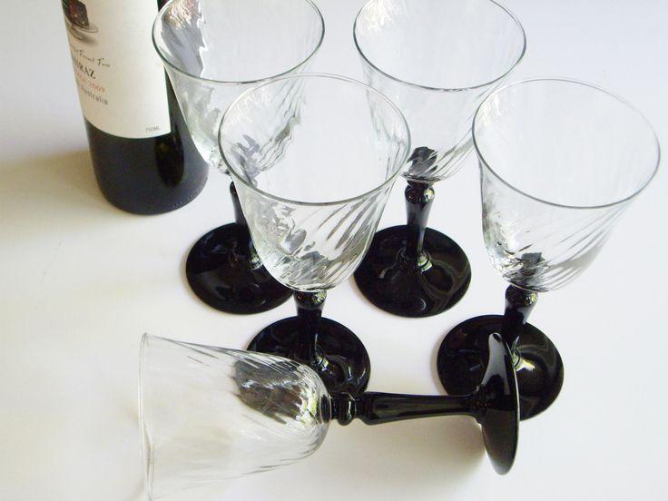 Vintage Wine Glasses, Luminarc France, Verrier Du0027Arques, Black Stem, Clear
