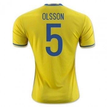 Sverige 2016 Olsson 5 Hemmatröja Kortärmad   #Billiga  #fotbollströjor