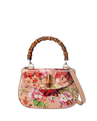 V2R8V Gucci Bamboo Classic Blooms Small Top-Handle Bag, Nude.Cartera Gucci