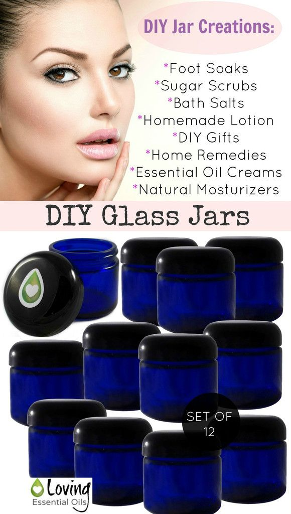 DIY Glass Jars | Loving Essential Oils http://www.lovingessentialoils.com/collections/products/products/2-oz-blue-glass-jars-set-of-12 2 oz. Blue Glass Jars with Black Lined Dome Lids.  Perfect containers for essential oils creams, homemade lotions, natural moisturizers, bath salts, foot soaks, sugar scrubs, home remedies, aromatherapy jars, DIY products and much more.