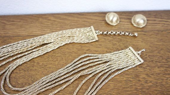 Vintage 1960s Bergere Silver Necklace and Earring Set Mid