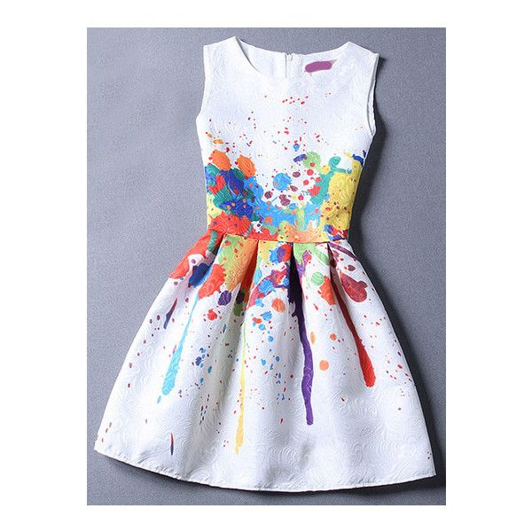SheIn(sheinside) Colour Sleeveless Graffiti Print Jacquard Dress ($22) ❤ liked on Polyvore featuring dresses, multicolor, multi color dress, multi colored dress, pattern dress, jacquard dress and print dress