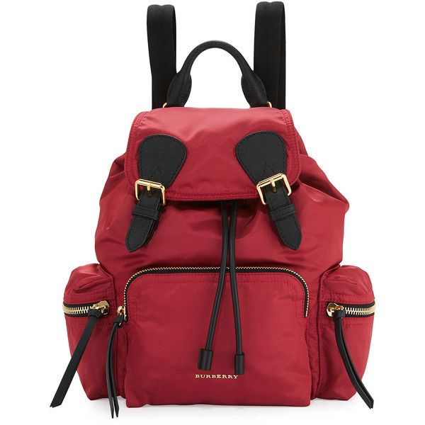 Burberry Medium Rucksack Runway Nylon Backpack (57,600 DOP) ❤ liked on Polyvore featuring bags, backpacks, plum pink, light weight backpack, red backpack, burberry backpack, quilted nylon backpack and quilted chain bag