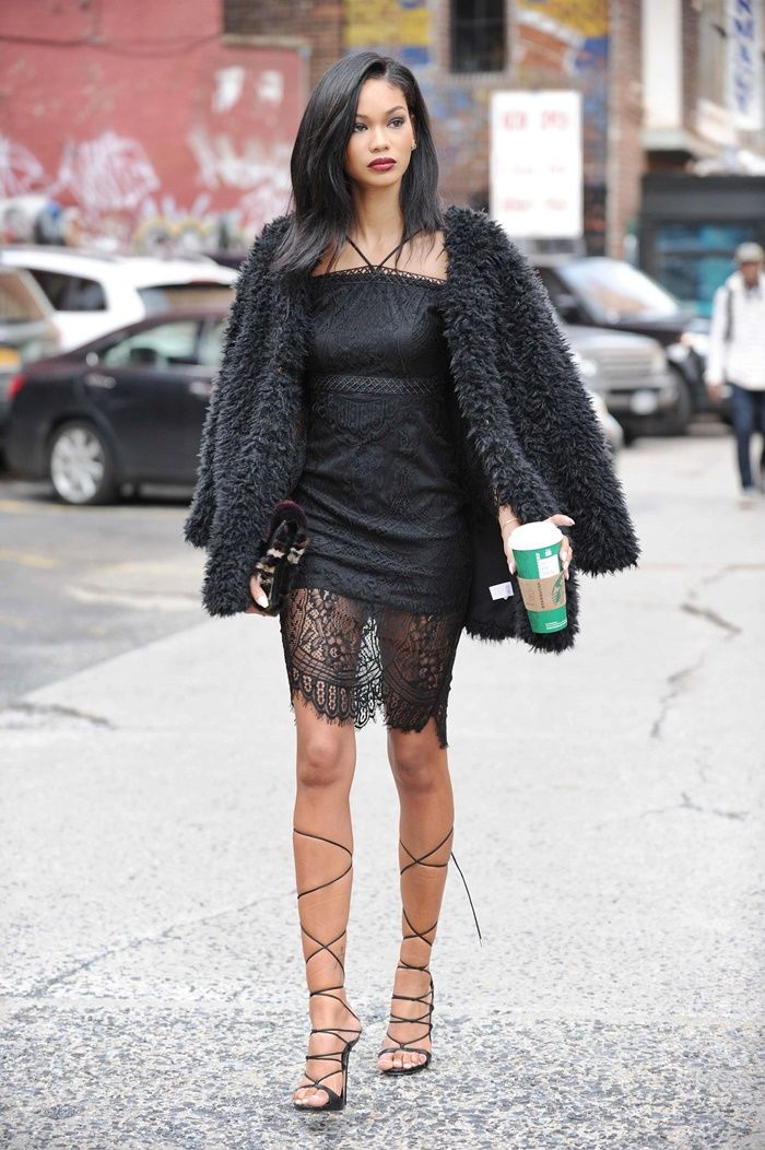www.streetstylecity.blogspot.com Fashion inspired by the people in the street ootd look outfit sexy skirt heels legs dress minidress lace Street Style: Chanel Iman - Stylish Starlets