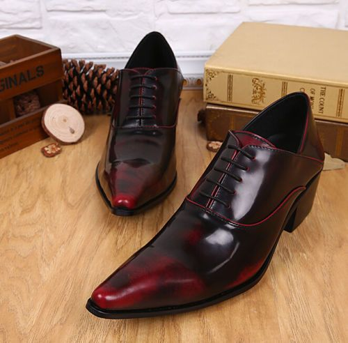 Chic Mens Dress Formal Shoes Oxfords Leather Wedding Lace Up Pointed Toe  Brogue