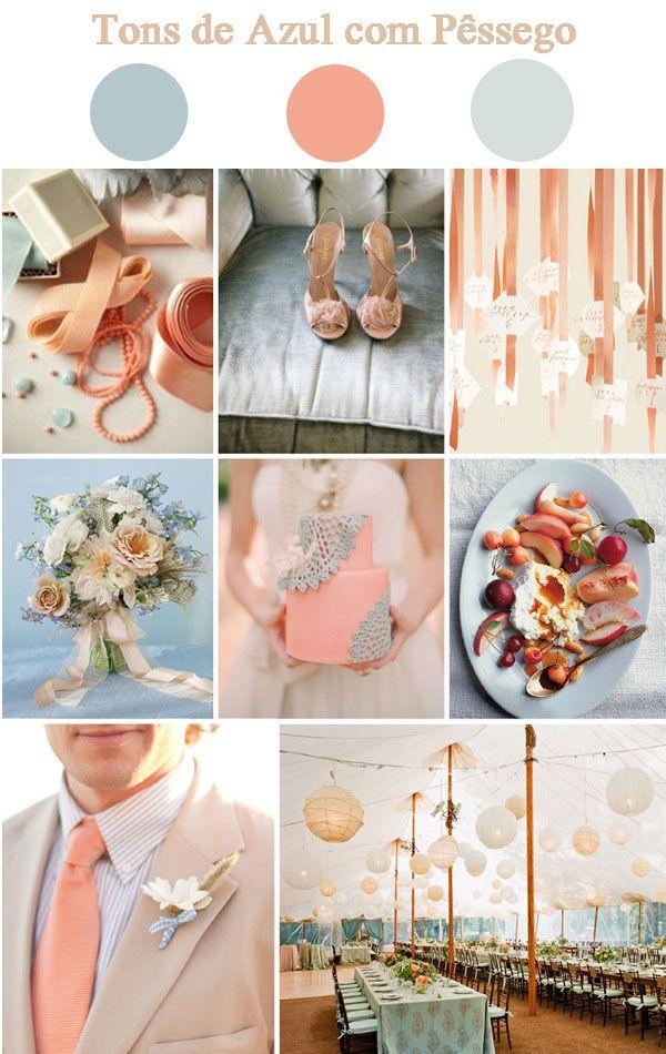 Decoração Tons suaves de azul com Pêssego | Site de casamento para noivas