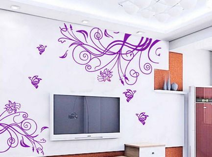 Bon Violet Abstract Flowers Wall Stickers Murals For Living Room Interior Design  Ideas