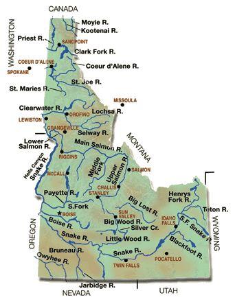 Map Of Idaho Rivers And Lakes | Fishing Idaho Rivers & Lakes