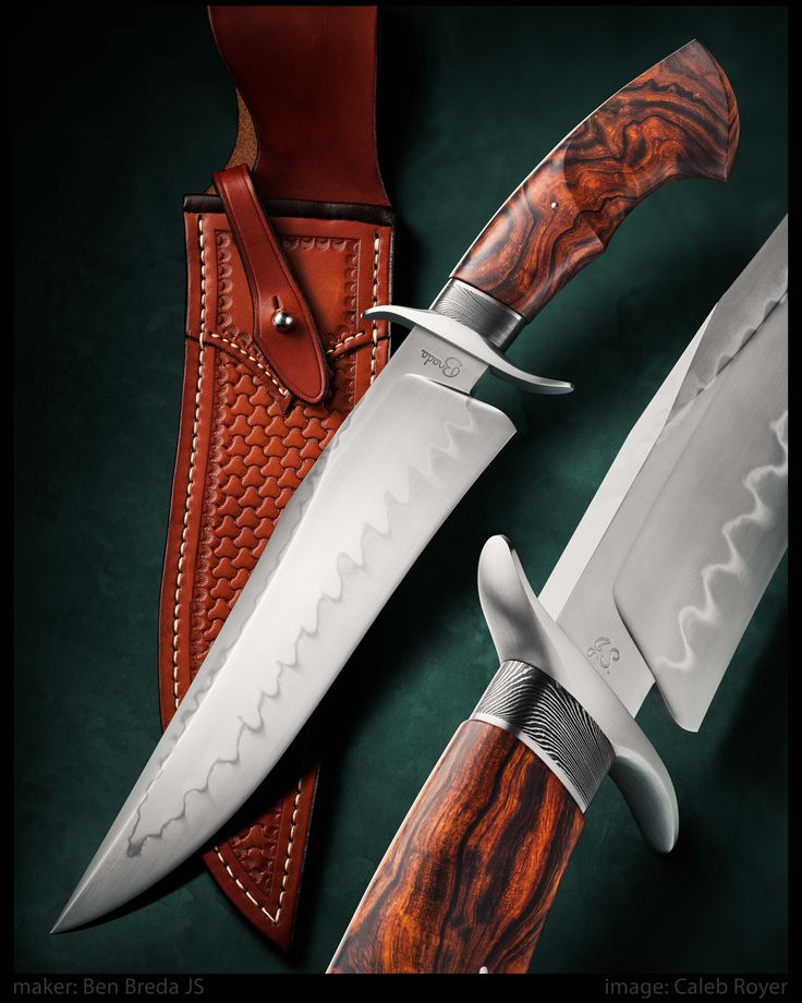 "maker: Ben Breda JS website: bredaknives.com Blade: W2 Blade length: 9 3/8"" Overall: 14 3/4"" Handle: Desert Ironwood Guard: Stainless Steel Collar: Damascus Sheath by maker  #calebroyerphotography #knife #knifemaking #knives #customknives #handmadeknives #knifecommunity #handmade #knifeart #knifepics #imagecalebroyer"