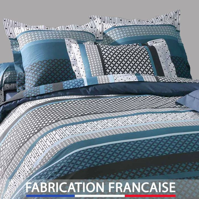 housse de couette 240x260 design bleu 2 taies d 39 oreillers. Black Bedroom Furniture Sets. Home Design Ideas