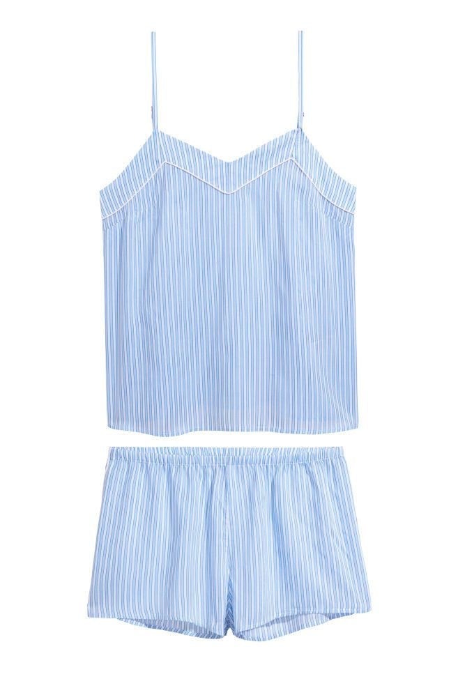 7baeceb02f7c Pajama Top and Shorts - Light blue striped - Ladies
