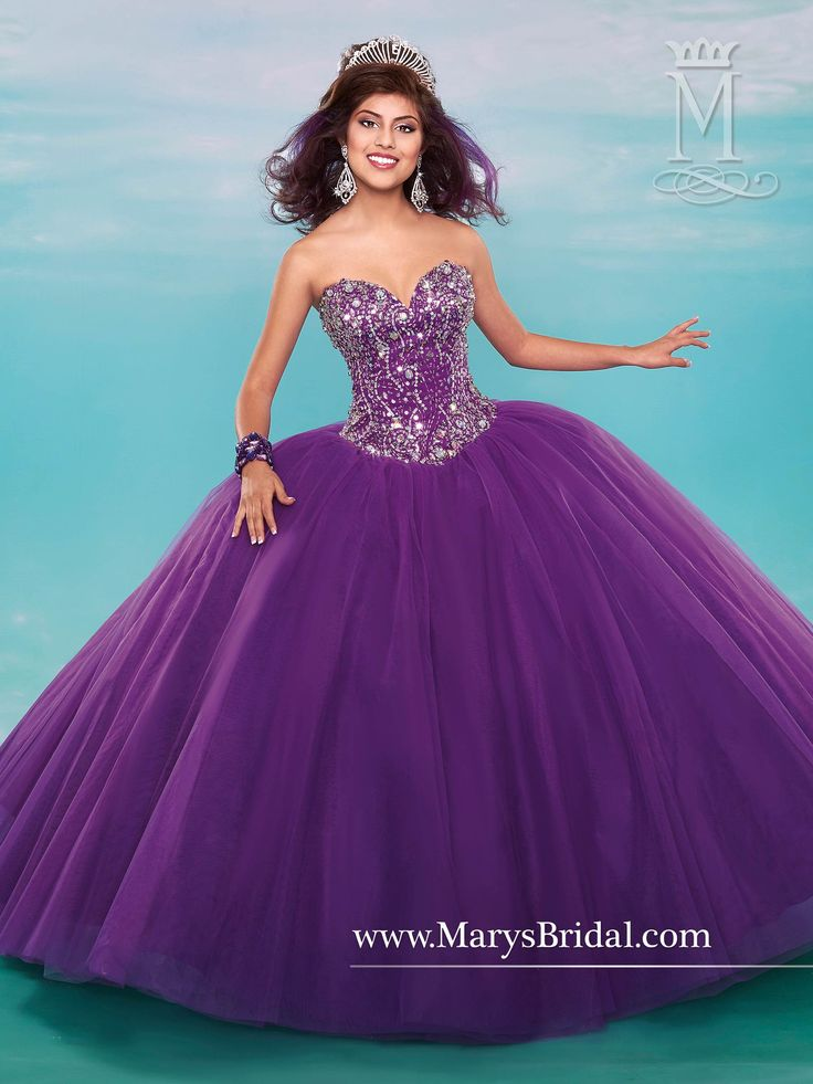 Dance the night away in a Mary's Bridal Beloving Collection Quinceanera Dress Style 4613 at your Sweet 15 party or at any formal event. Strapless sweetheart tulle quinceanera ball gown with beaded bod