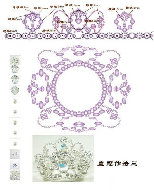 Crown: Beaded Jewelry Pattern - 手工串珠DIY: 新娘水晶王冠制作教程