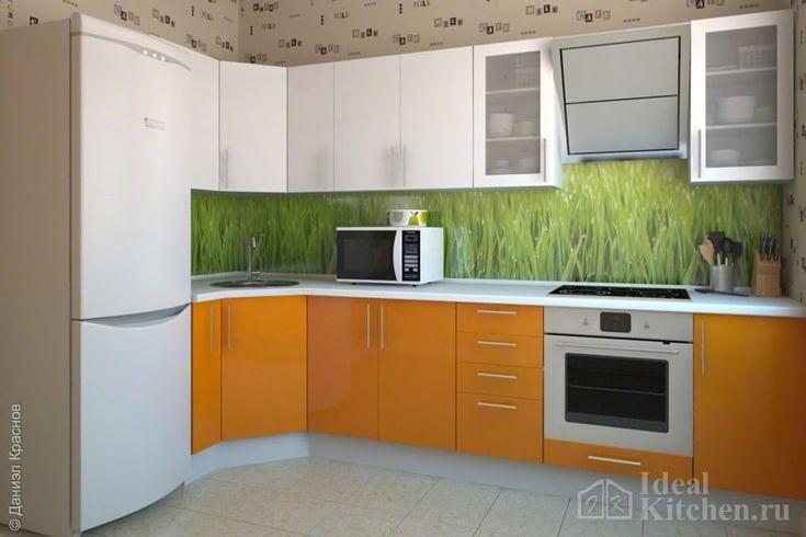 Оранжевая кухня - 62 фото в интерьере, гарнитуры, дизайн, фартук и обои