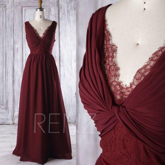 2016 Wine Chiffon Bridesmaid Dress Long V Neck Lace von RenzRags