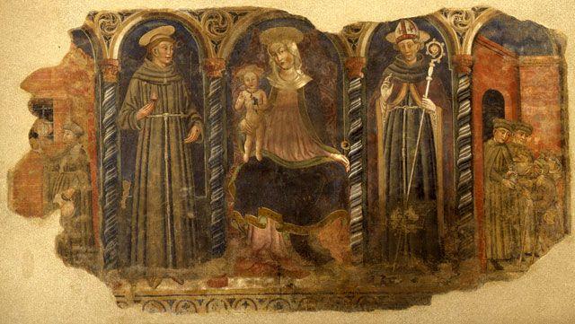 """Pittore  reggiano (seconda meta' XV secolo) / """"Madonna tra i santi Francesco e Ludovico di Tolosa e due opere di Carità"""" / Affresco, cm. 170 x 293 / Piano 1 - Galleria Fontanesi"""