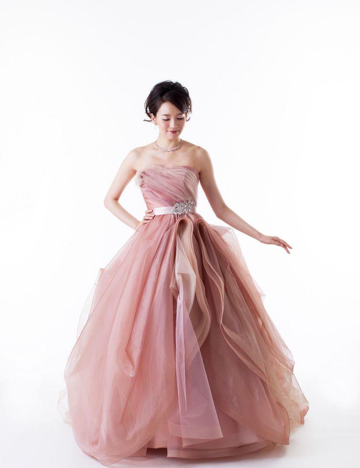 ピンク ビスチェ チャペル チュール レースアップ サッシ プリーツ ボールガウン カラードレス 花嫁ドレス 結婚式 Cmw0001