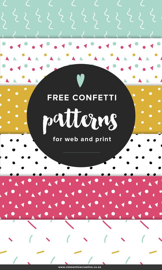 Free confetti patterns for your blog background or your print projects! Click here to download.