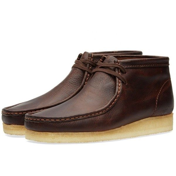 Clarks Originals Wallabee Boot ($140) ❤ liked on Polyvore featuring men's fashion, men's shoes, men's boots, mens moccasin boots, mens moccasins shoes, mens lace up boots and mens lace up shoes