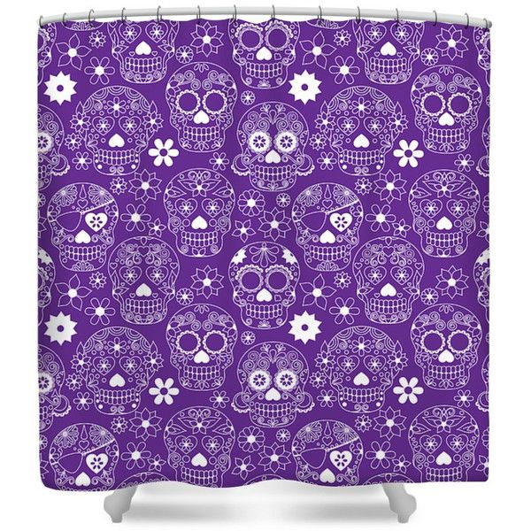 Sugar Skull Shower Curtain Purple ($60) ❤ Liked On Polyvore Featuring Home,  Bed  Purple And Grey Shower Curtain