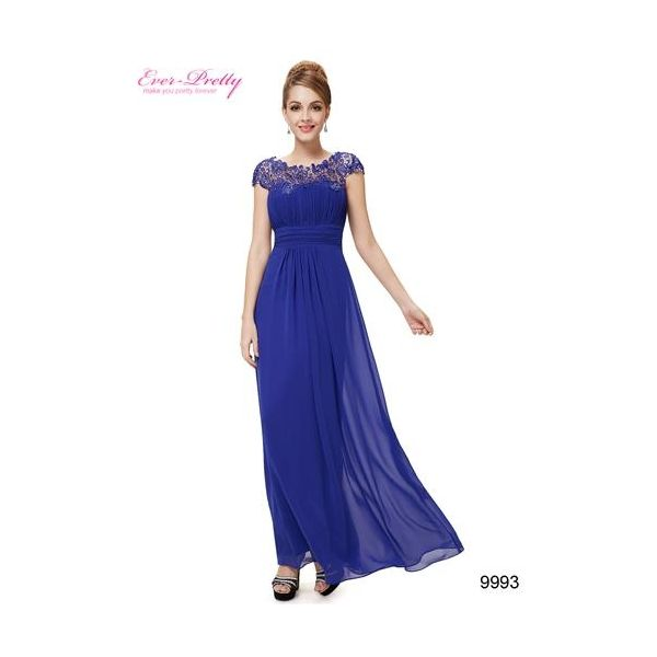 Blue Lacey Neckline Open Back Ruched Bust Evening Dress