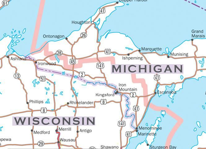 The strange delimitation of the Central Time Zone and Eastern Time Zone in Michigan. Note that the southern fringe of the Upper Peninsula is on Central Time (including Iron Mountain), rather than shifting along the Wisconsin border.