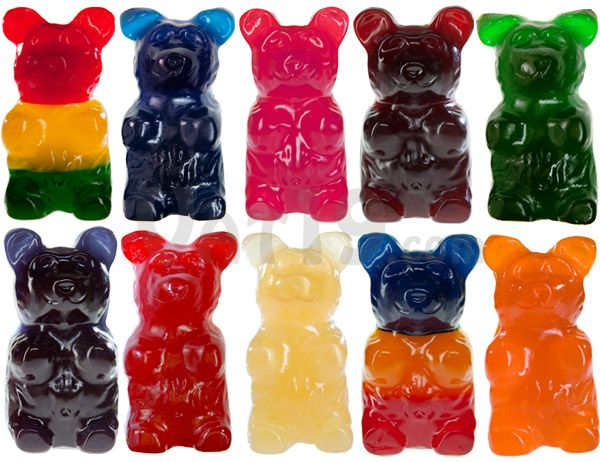 The World's Largest Gummy Bear is available in red cherry, blue raspberry, orange, green apple, pineapple, bubblegum, and astro.