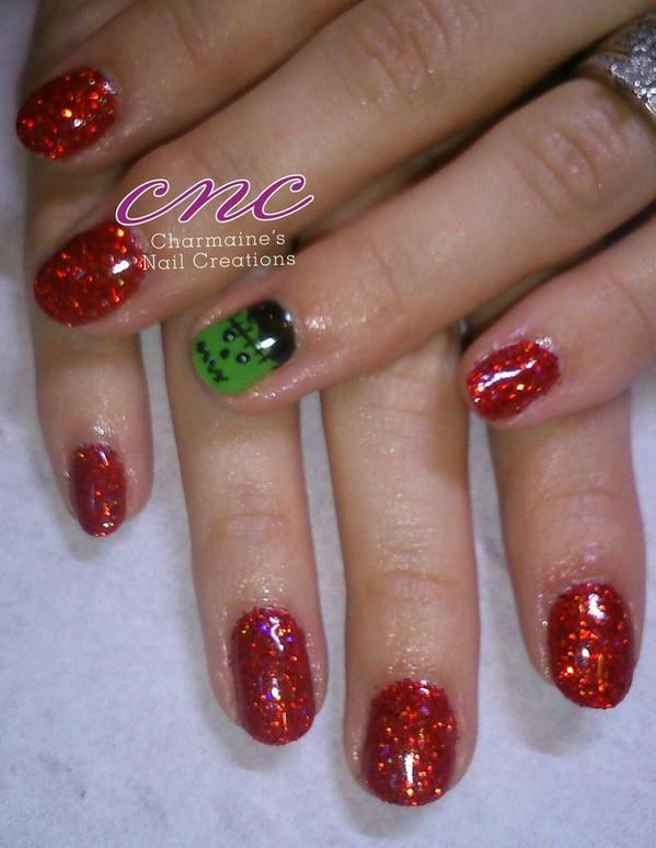 More fab work from Charmaines nails CNC ‏@charmaineodam using #CNDshellac Wildfire shellac with #lecente Deep Red #Glitter and #Frankenstein #cute #Halloween #nails #lovelecente