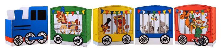 Circus trein wagonnetjes met locomotief. Deze download zit in het feestpakket Circus van PrintPret.
