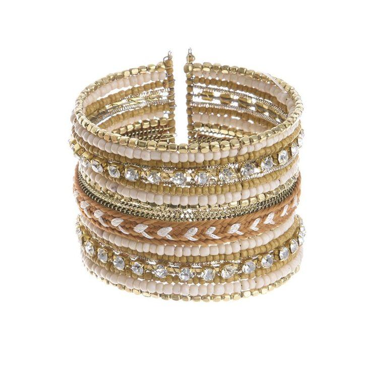 BRACELET ΙΝ BEIGE-GOLD COLORS - Bracelets - Jewellery - Accessories