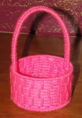 American girl sewing project basket from plastic canvas