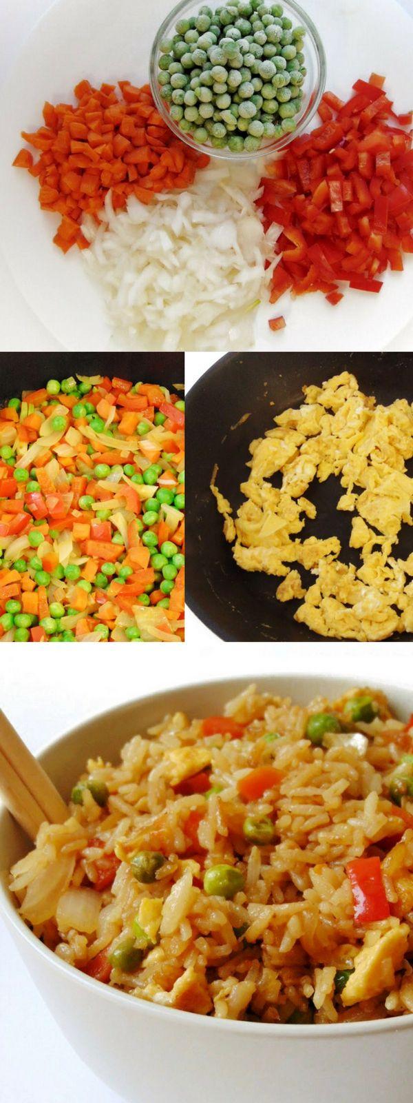 Arroz chino con verduras y huevo | Arroz frito estilo chino simplificado | Receta saludable | Tasty details