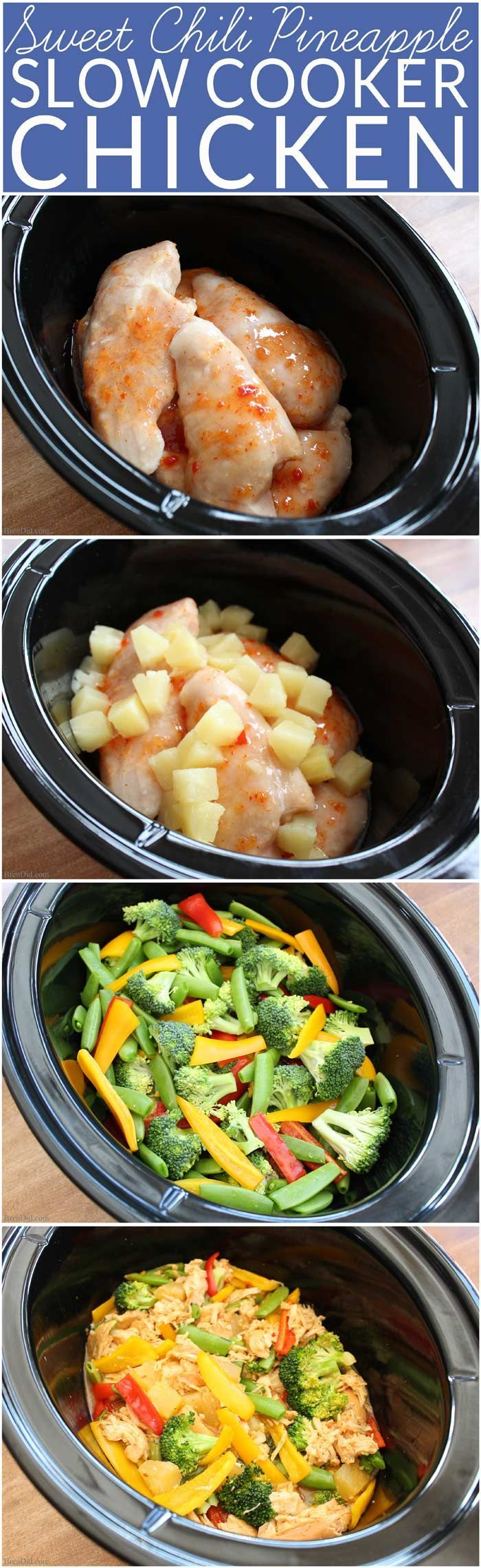 Easy crock pot recipe requires no thawing and uses just 4 somple ingredients: chicken, sweet chili sauce, pineapple and vegetables. In just 5 minutes you can prepare a delicious healthy slow cooker meal your whole family will love.