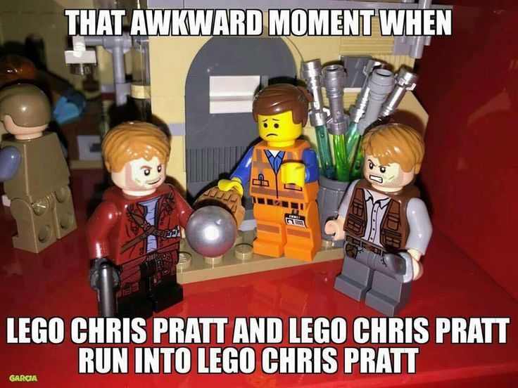 That awkward moment when Lego Chris Pratt and Lego Chris Pratt run into Lego Chris Pratt.