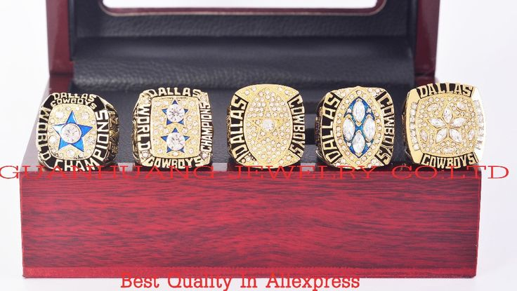 1971 1977 1992 1993 1995 dallas cowboys replica super bowl 5years championship rings with wooden box
