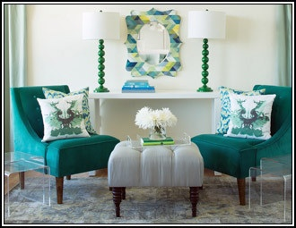 Teal Accent Chairs Off White Foot Stool Lamps Throw