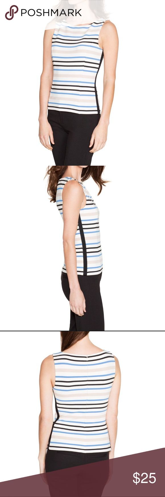 "BRAND NEW!!!!! WHBM SLEEVELESS STRIPED BODICE TOP BRAND NEW NEVER WORN!!! Start with a sleek foundation in our striped bodice topped with a bateau neck and slimming seams down either side. Match back for a perfect pair with our striped ponte pencil skirt. Sleeveless bodice top Back zip; hook and eye close Polyester/rayon/spandex. Machine wash, cold. Approx. 22.5"" from shoulder. White House Black Market Tops"