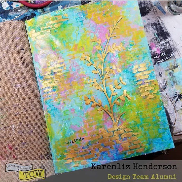 Golden texture! ❤️@karenlizhenderson shared this lovely art journal page using our NEW Metallic Modeling Paste in #TCW9026ChampagneGold along with a new #Stencil by @craftermom #TCW790MicroBricks and #TCW433Wildflowers by @rondapalazzari #tcwdesignteamalumni #tcwnewforsummer2017 #tcwstencils #thecraftersworkshopstencils #tcwstencillove #thecraftersworkshop